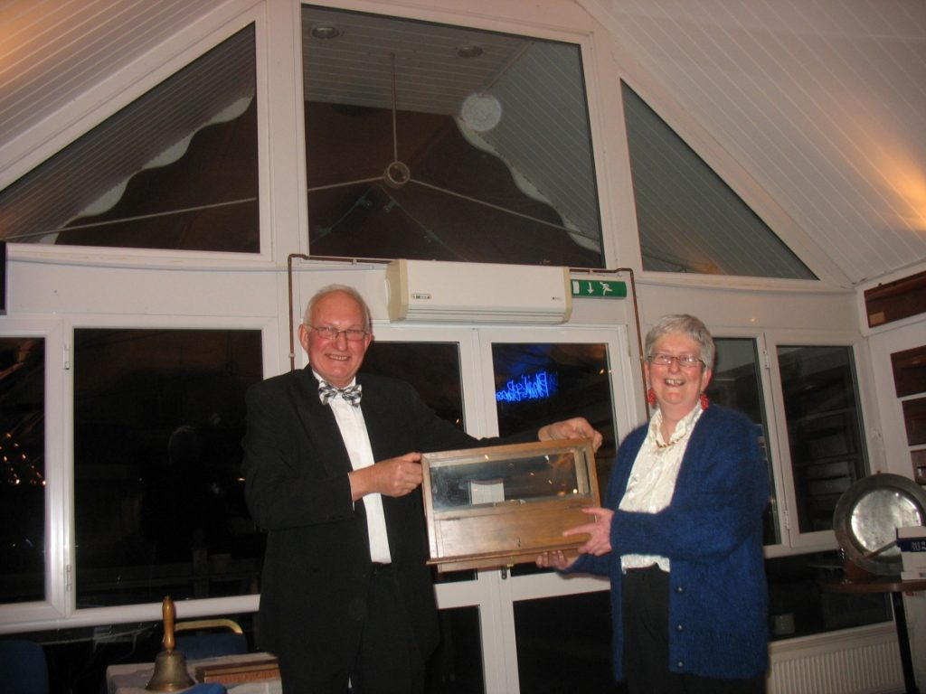 Charles Fox presents the Uffa Spoon to his final victim Carolyne Vines