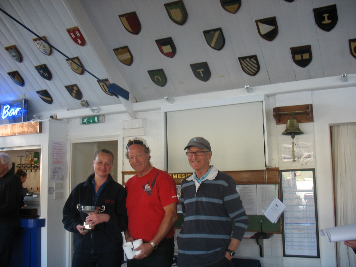 Commodore Colley presents the Sondown Cup to Martin Hunter and Margarethar Van Dam