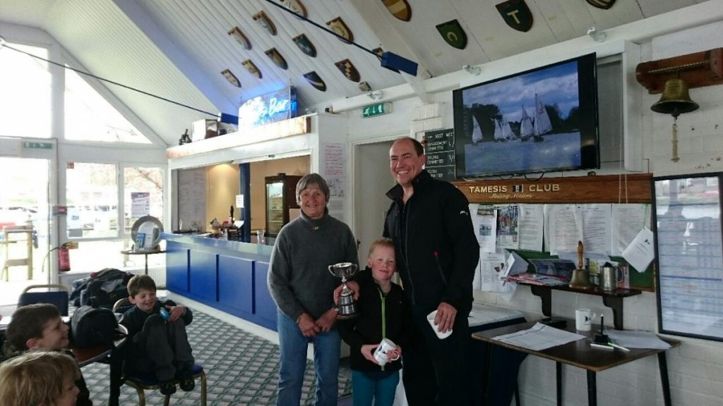 Sue Harris presents Alex and Thomas Davey with the Elizabeth Cup