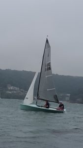 Take it Easy, Ken Duffell and Joe Woods, eases off coming in to Mill Bay in preparation for Salcombe Merlin Week